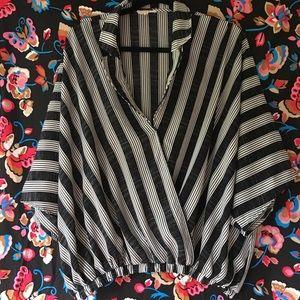 🔮Adorbs striped wrap-style blouse